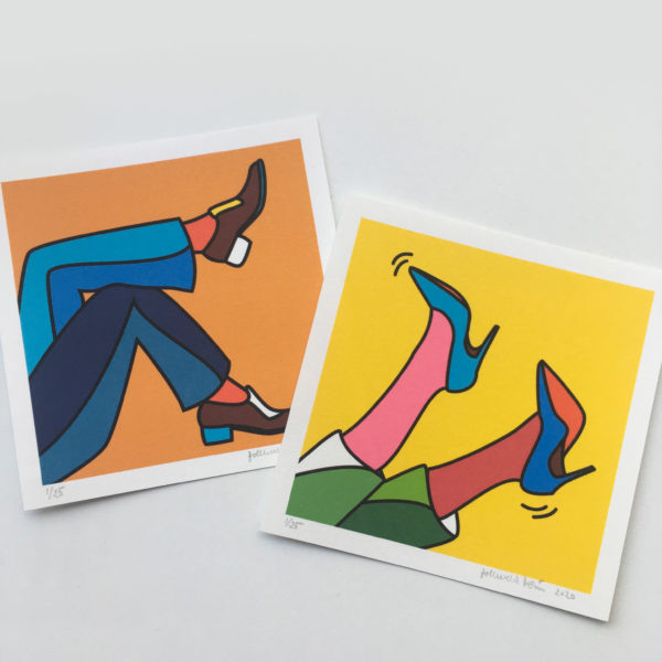 Image of two mini prints which show illustrations of two men feet in a relaxing pose and two women feet with heels up in the air.