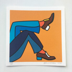 Mini art print of an illustration of two men feet in a relaxing pose.