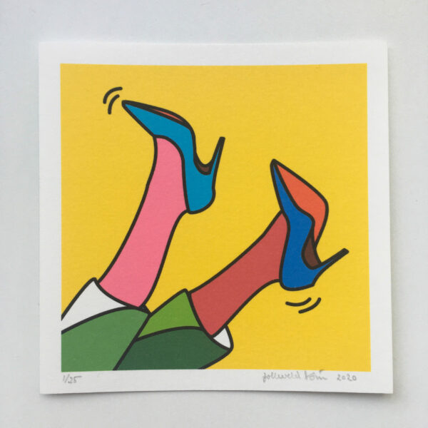 Image of a mini art print showing two feet with heels up in the air.